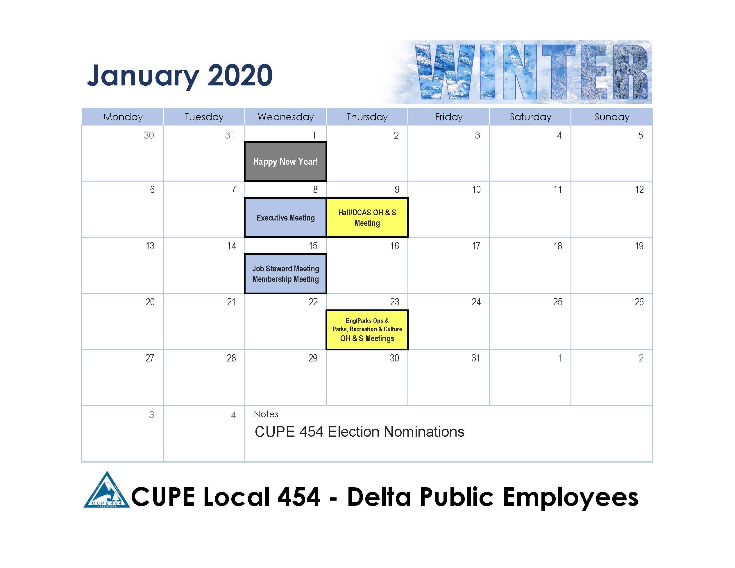 January 2020 Cupe 454 Calendar | Cupe 454 Inside 454 Calendar For 2020