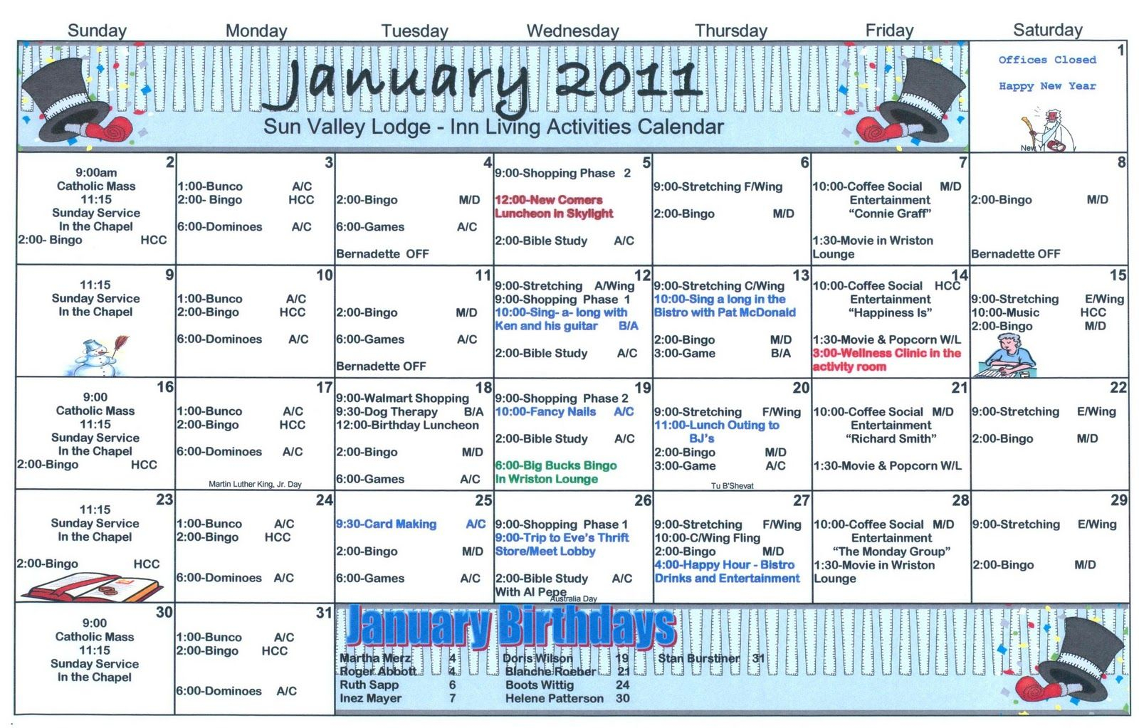 January Assisted Living Activity Calendar. Click On Calendar In Assisted Living Activities Schedule