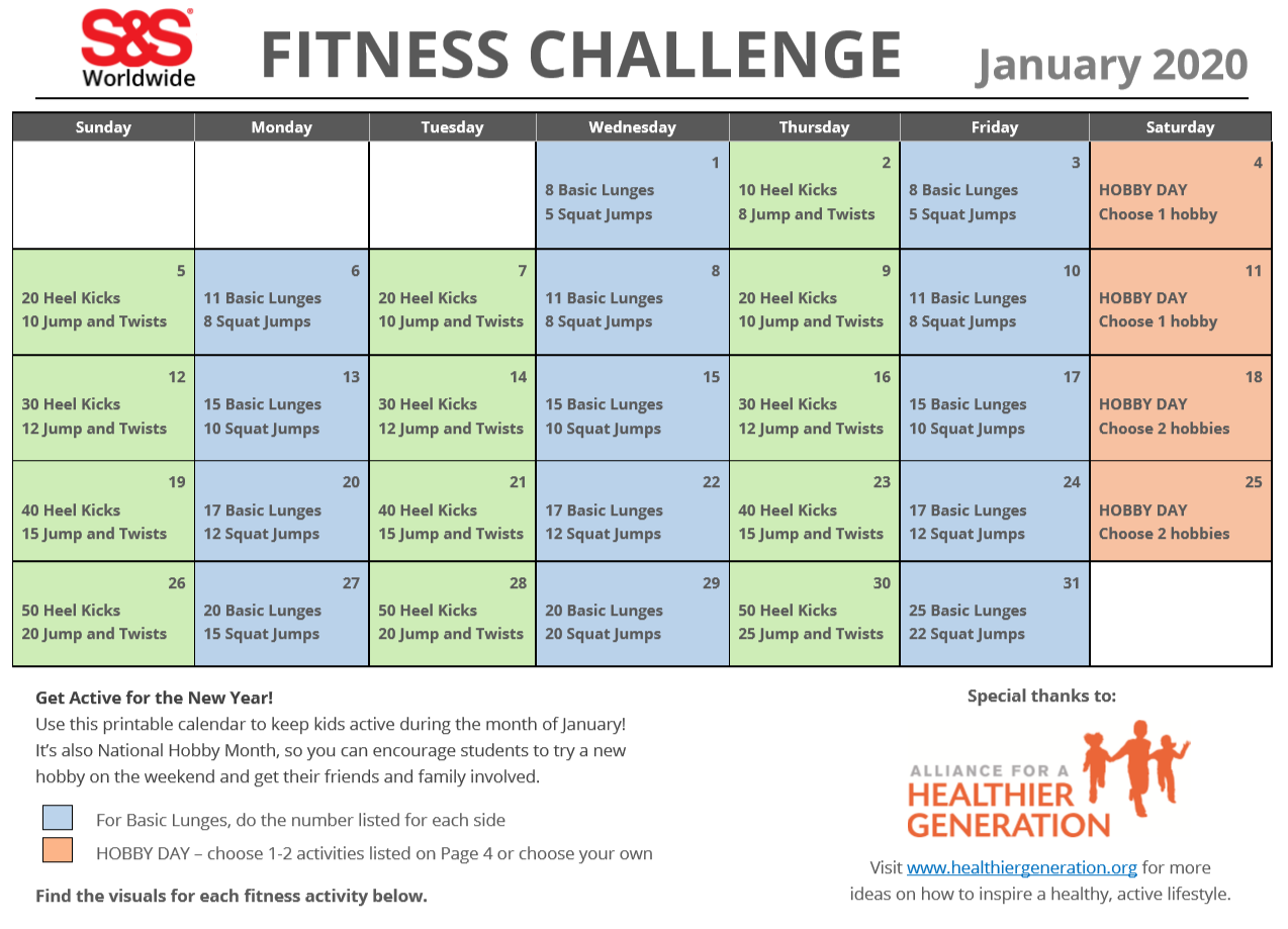 January Printable Fitness Challenge Calendar - S&s Blog for January Fitness Printable Challenge