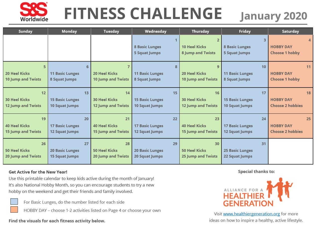January Printable Fitness Challenge Calendar - S&s Blog For January Fitness Printable Challenge
