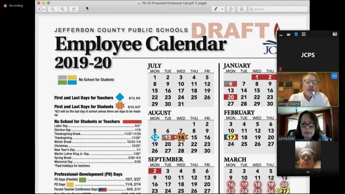 Jcps Board Discusses Changes To 2019 2020 School Calendar In Cash 3 Midday Yearly Calendar