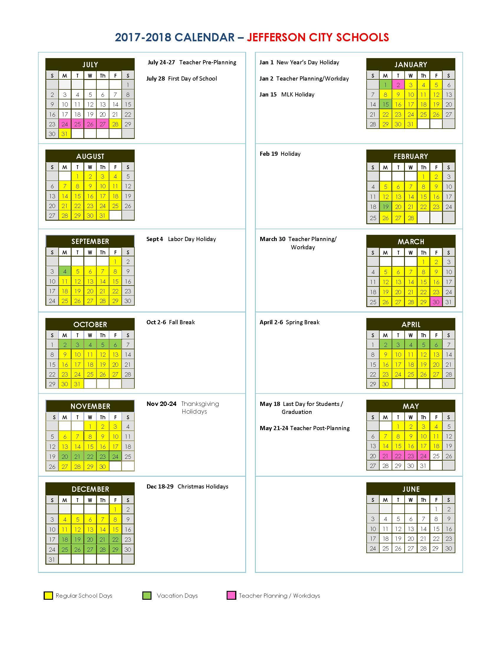 Jefferson City Schools Intended For Georgia State School Calendar 2020