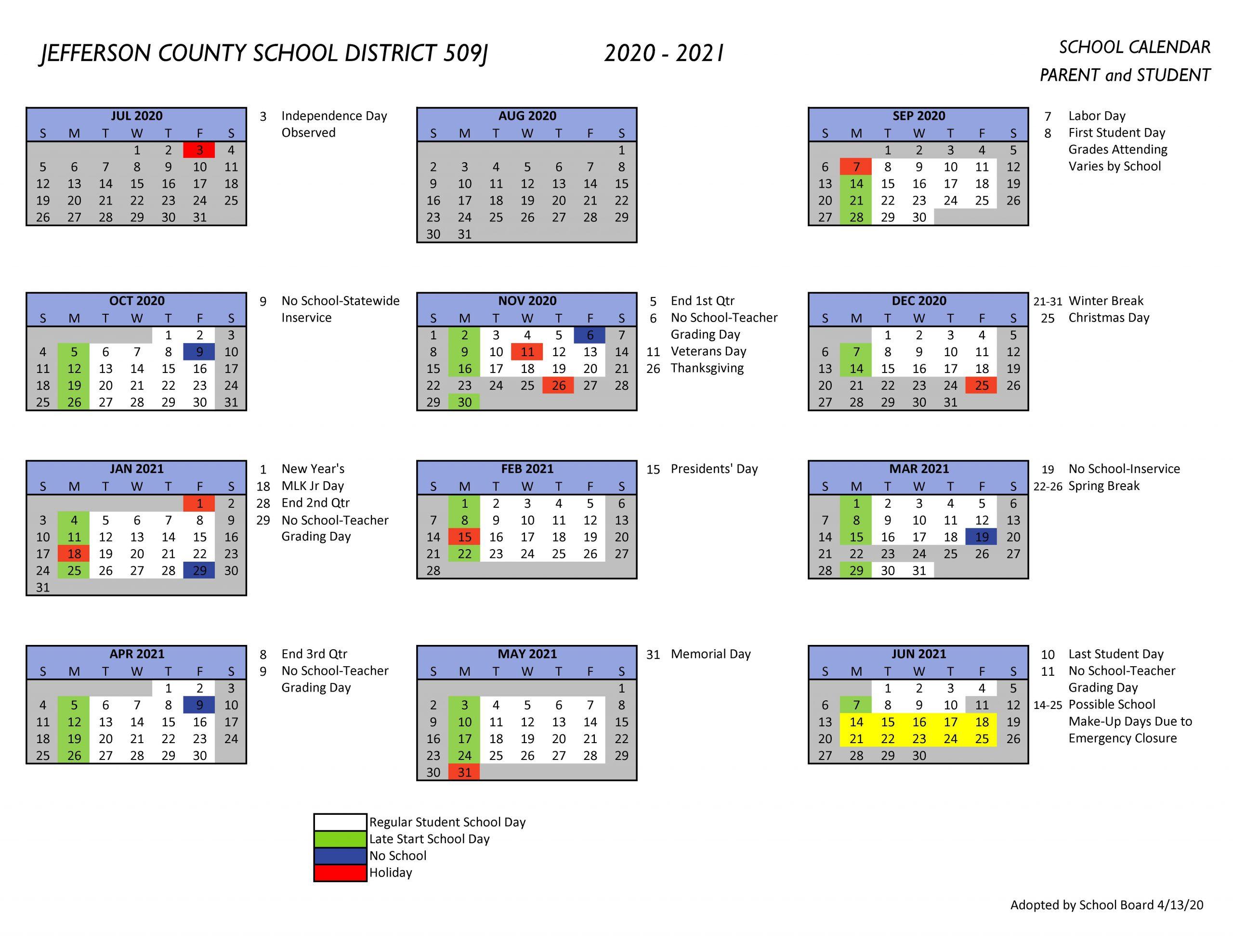 Jefferson County School District 509J | Unite. Engage. Soar. Inside Jefferson County Colorado School Calendar
