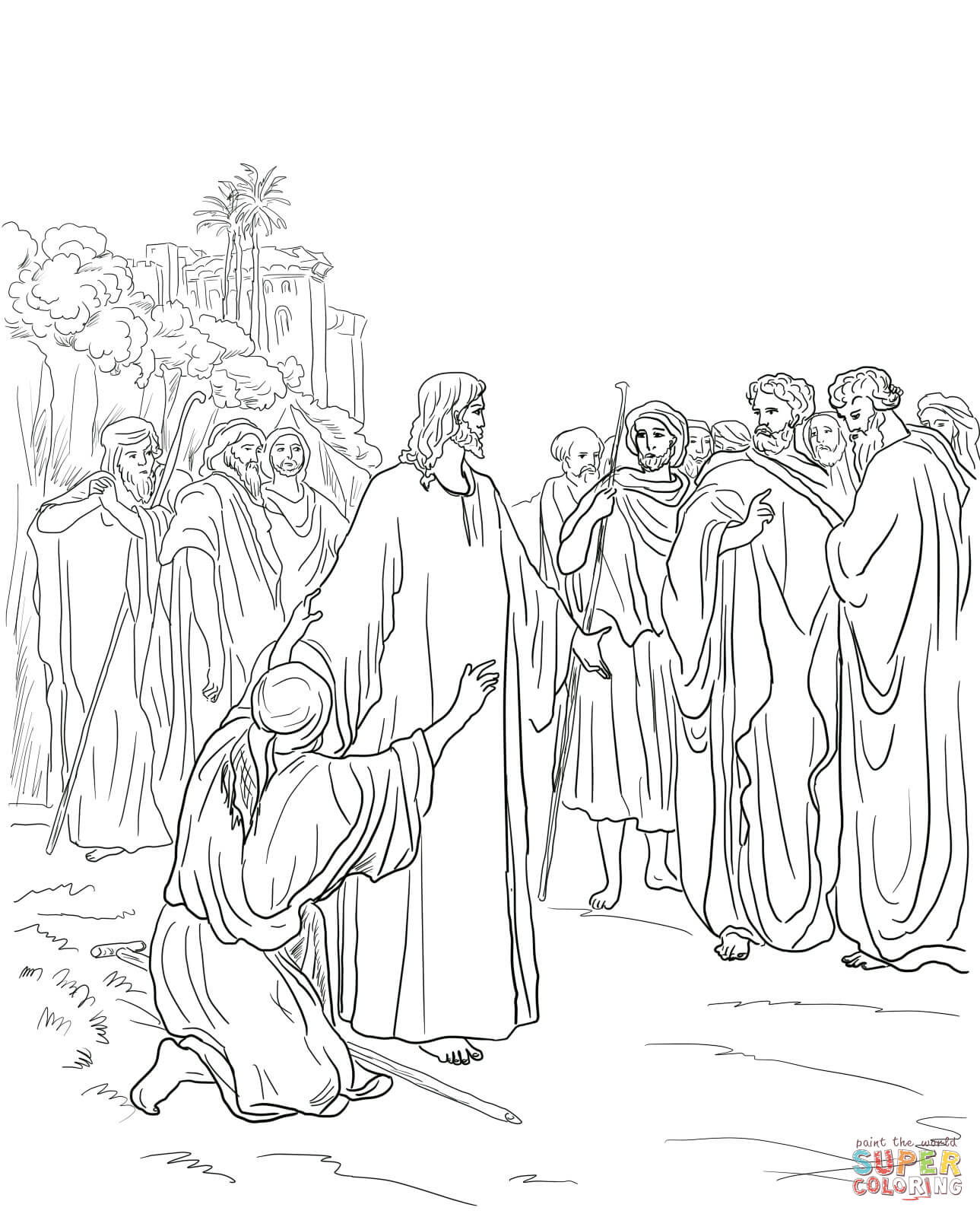Jesus Healing The Demon Possessed Man Coloring Page | Free Intended For Printables Pictures Of Mens On A Mission