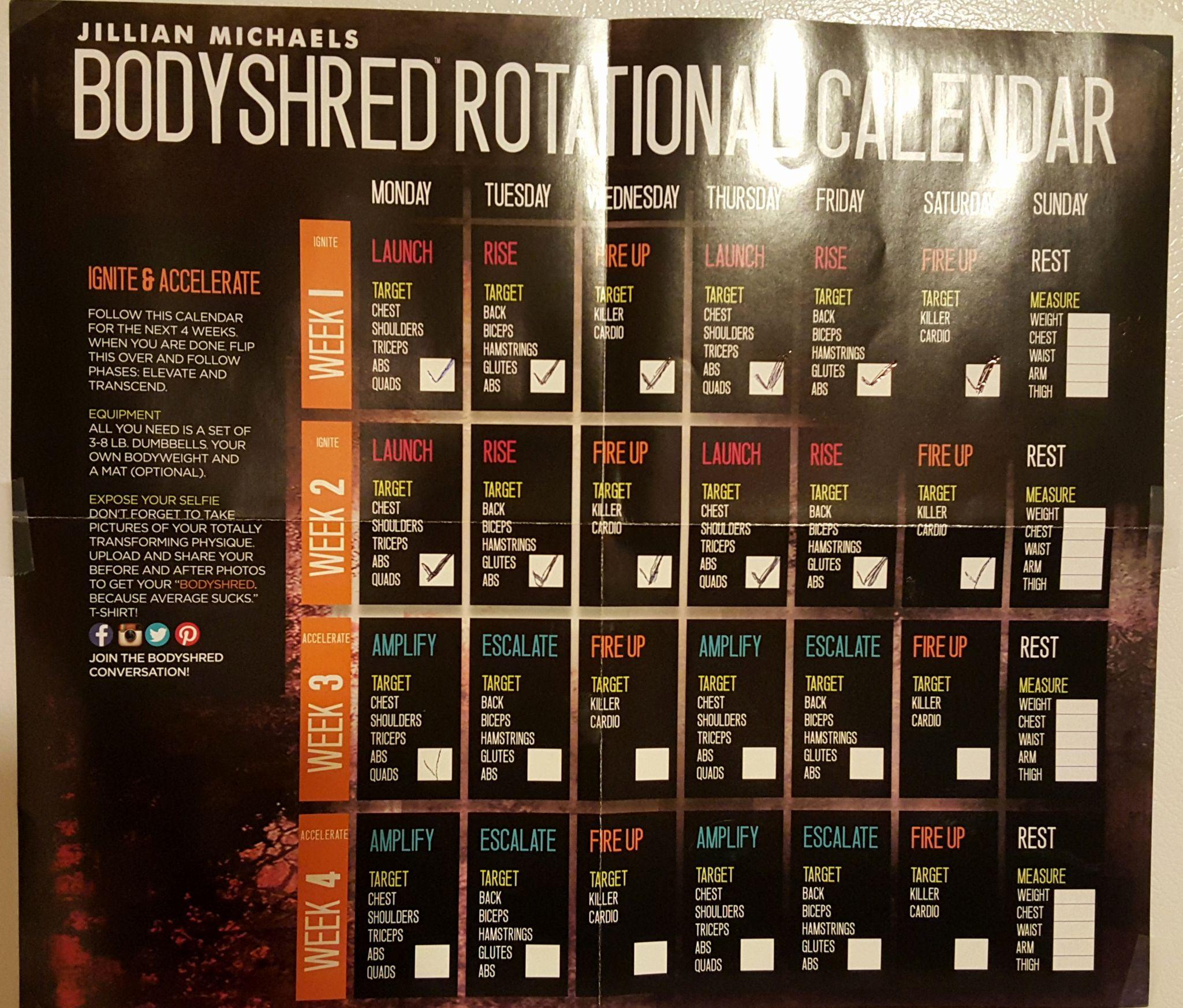 Jillian Michaels 30 Day Shred Printable Calendar Search Pertaining To Body Revolution Jillian Michaels Calendar Pdf