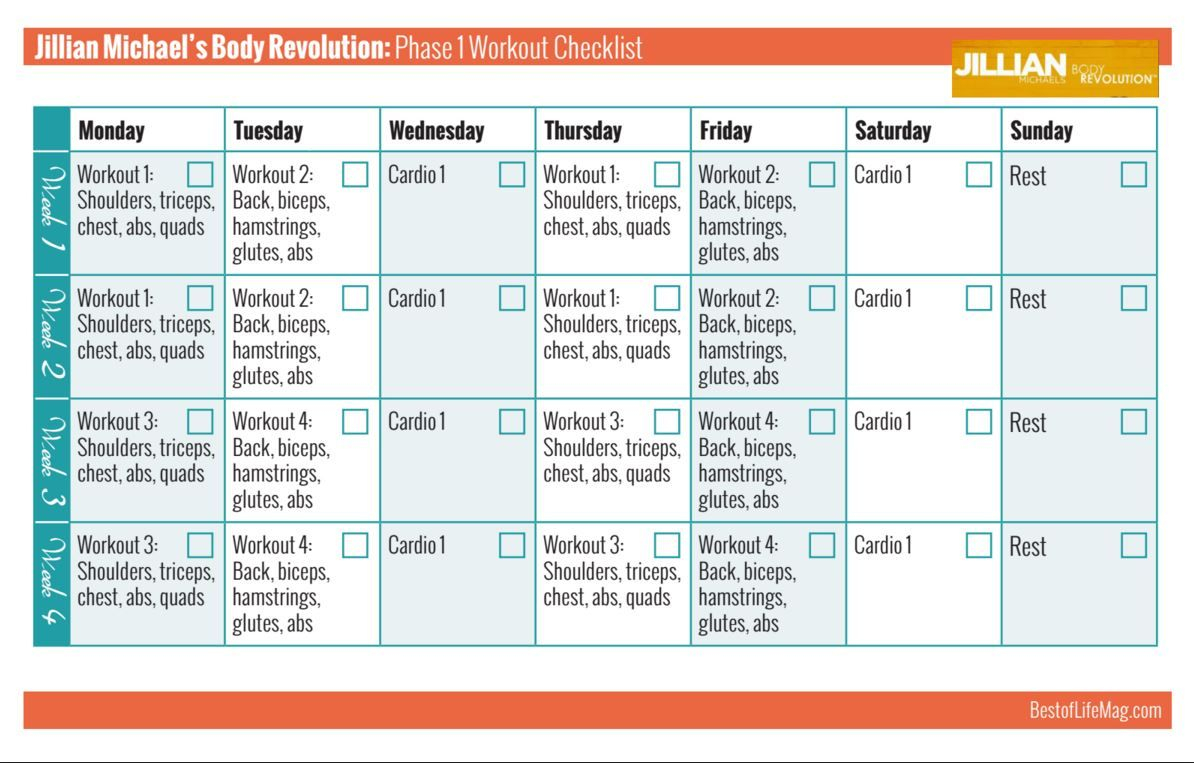 Jillian Michaels Body Revolution Printable Workout Checklist regarding Body Revolution Jillian Michaels Calendar Pdf