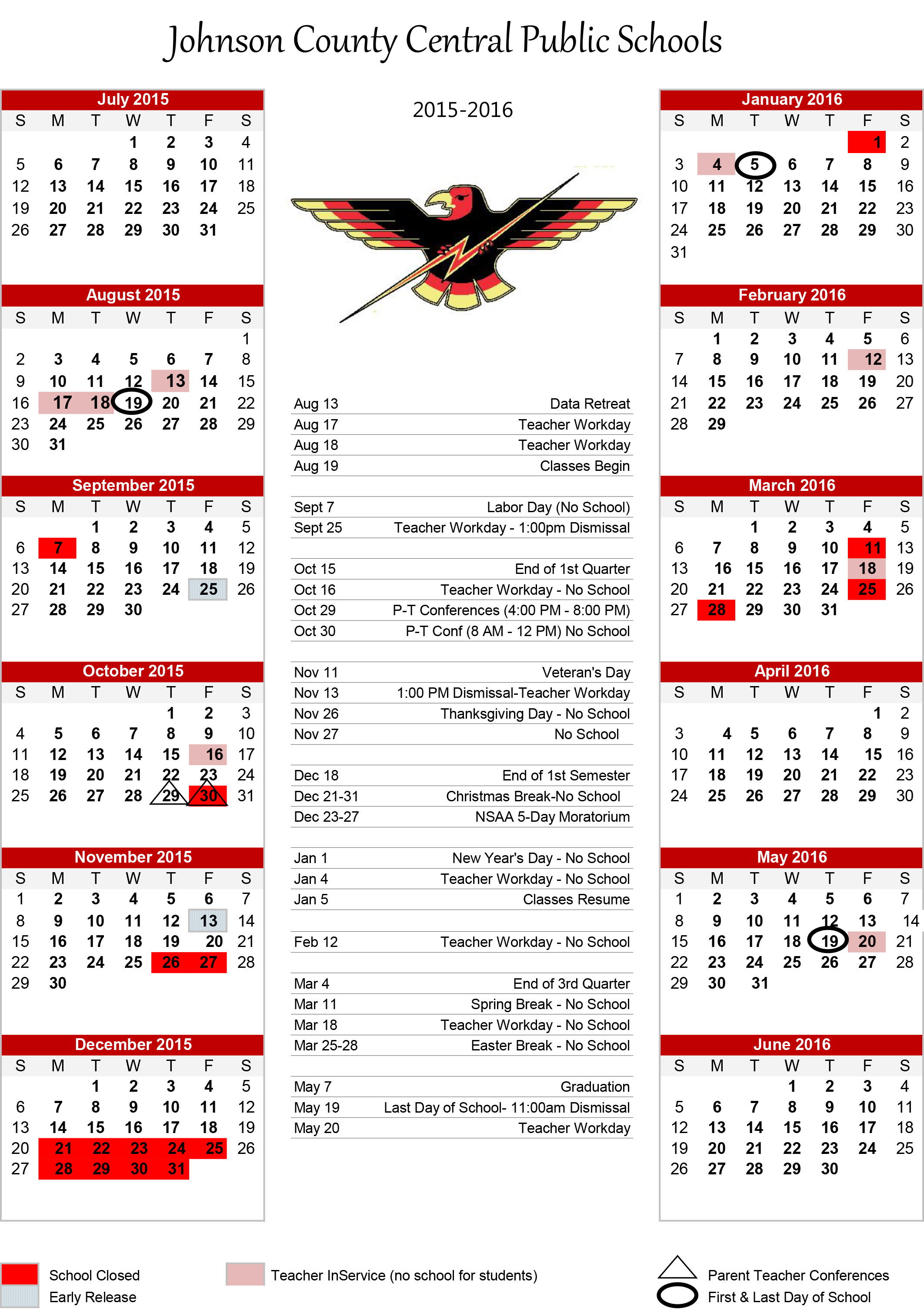 Johnson County Central - 2015 16 Calendar Pertaining To Johnston County Public School Calendar