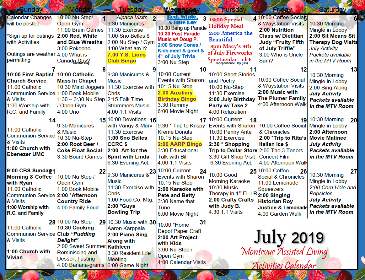 July 2019 Activity Calendar For Montevue Assisted Living With Assisted Living Activity Calendar