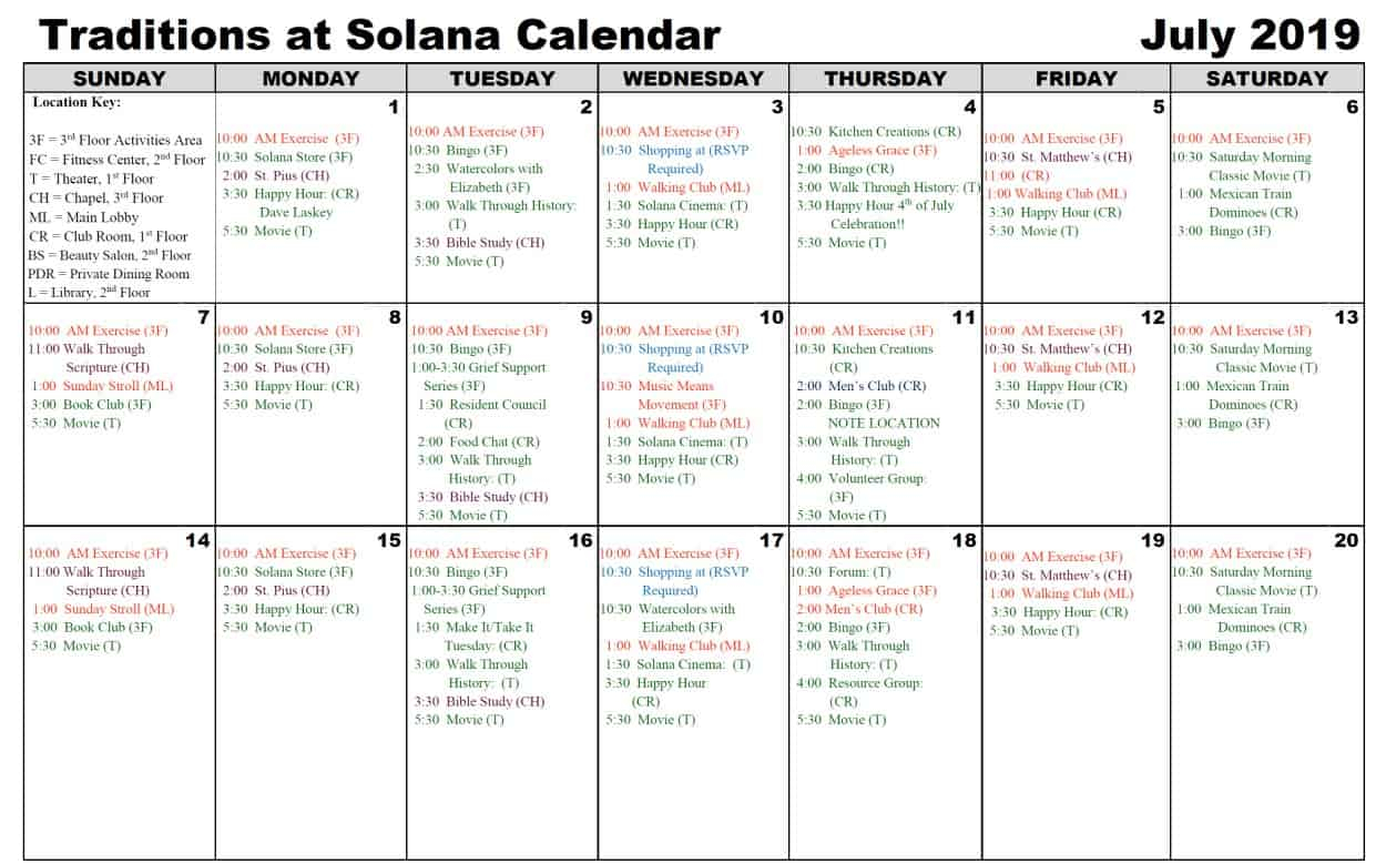 July 2019 Calendar | Traditions At Solana Within Saint Names Mexican Calendar