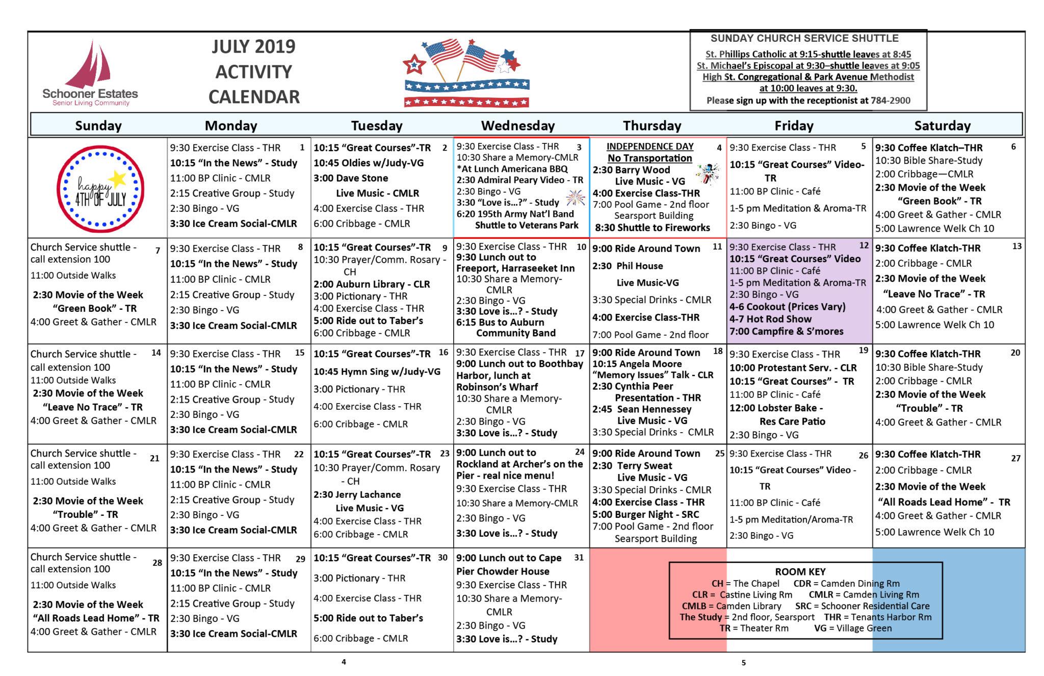 July 2019 Schooner Estates Activity Calendars For Assisted Living Activity Calendars