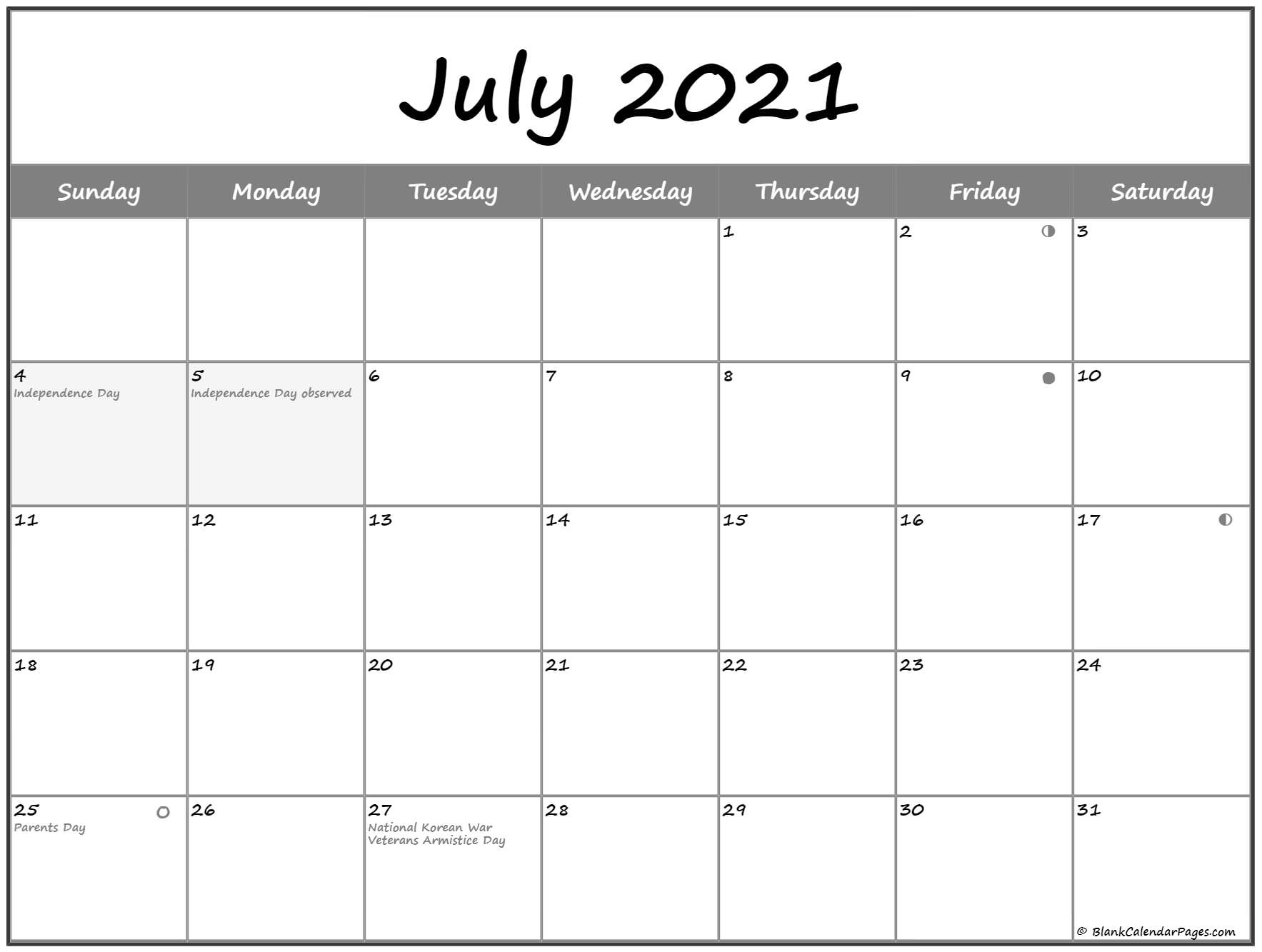July 2021 Lunar Calendar | Moon Phase Calendar Throughout Moon Phase Deer Hunting Chart 2021