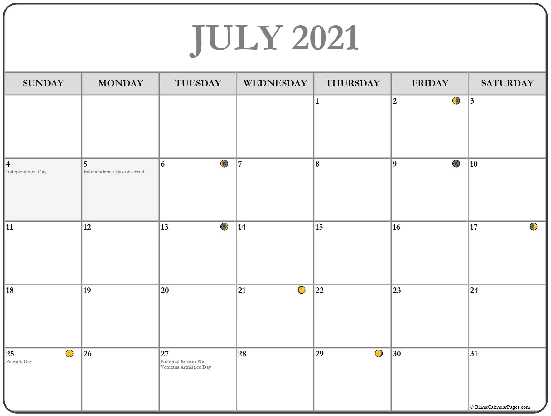 July 2021 Lunar Calendar | Moon Phase Calendar With 2021 Deer Hunting Lunar Calendar