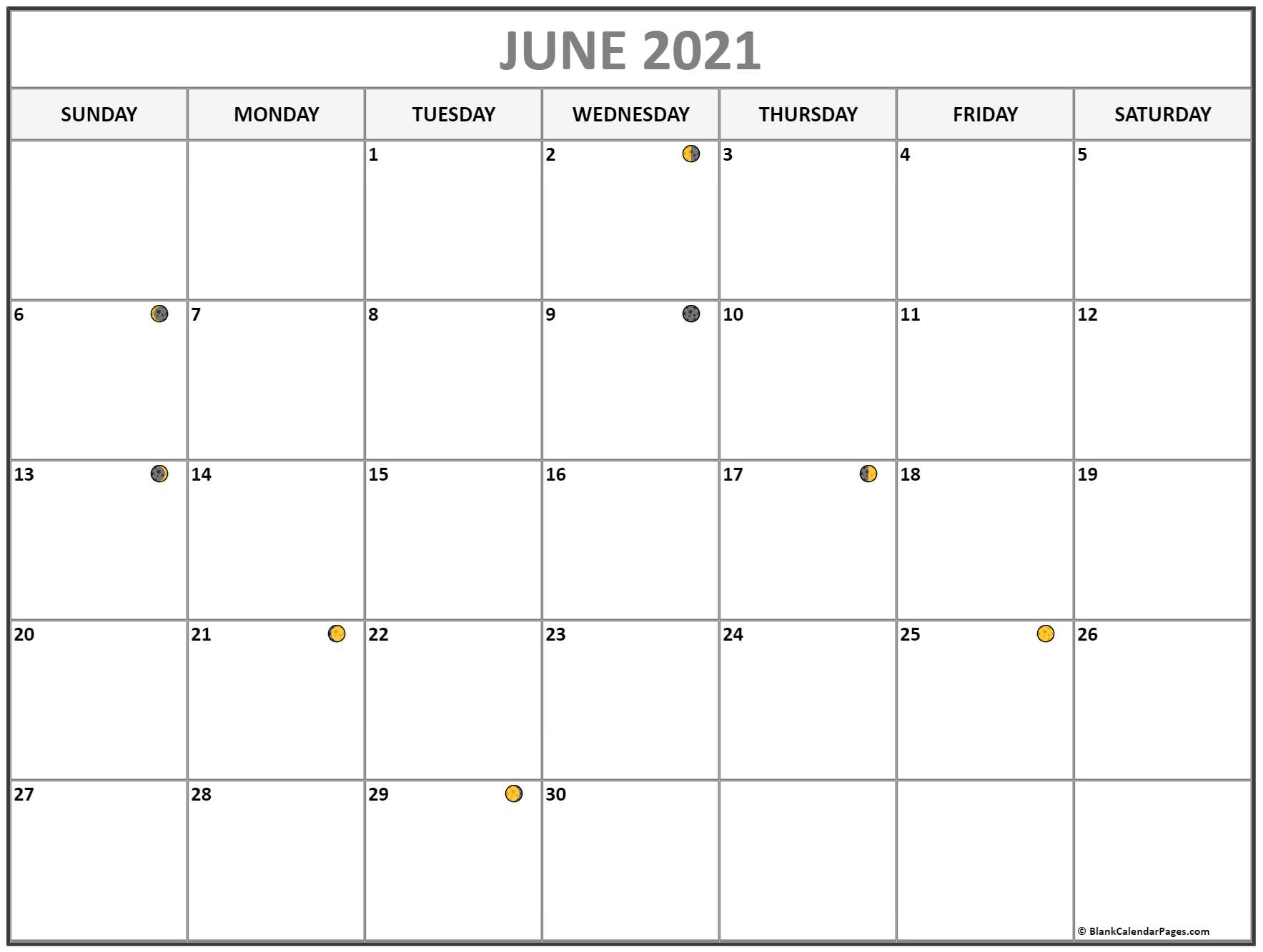 June 2021 Lunar Calendar | Moon Phase Calendar Throughout Moon Calendar 2021 Name And Date For Kids