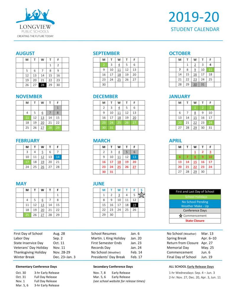 Key Dates – Longview Public Schools For St Helens School District Calendar