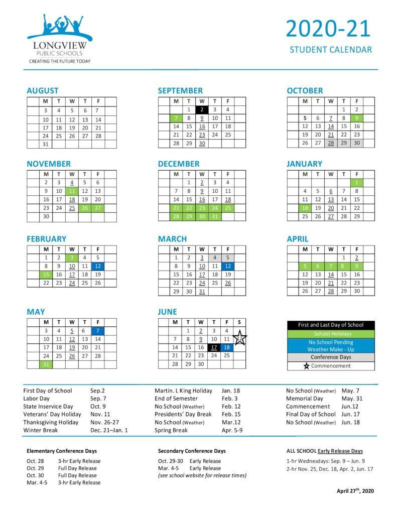 Key Dates – Longview Public Schools Within St Helens School District Calendar