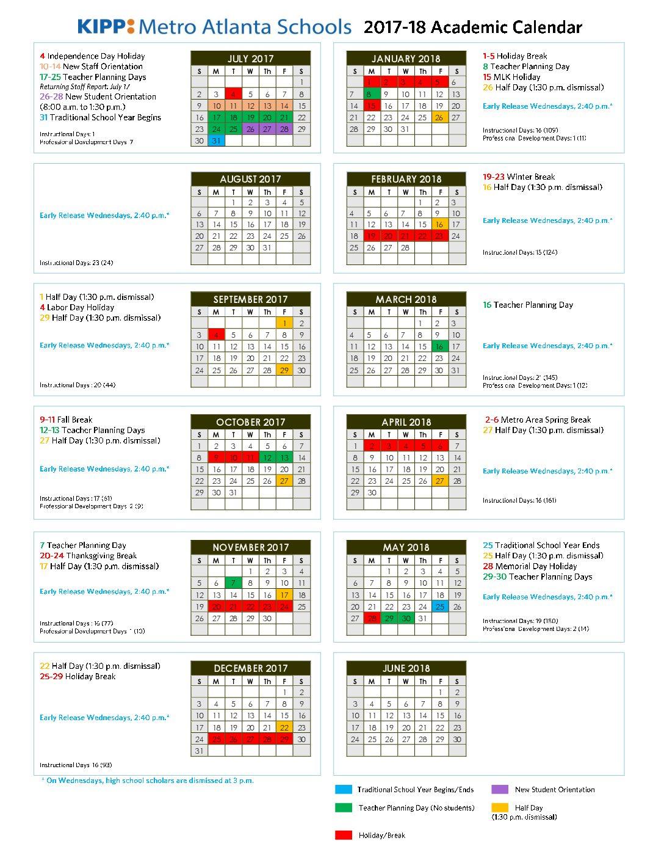 Kipp Metro Atlanta Schools 2017 18 Academic Calendar - Kipp With Davidson County Tn School Calender