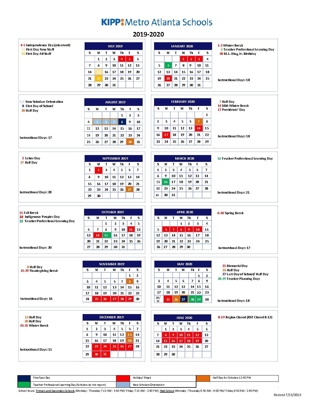Kipp Metro Atlanta Schools Calendar Sy19 20 – Kac Final With Regard To Davidson County Tn School Calender