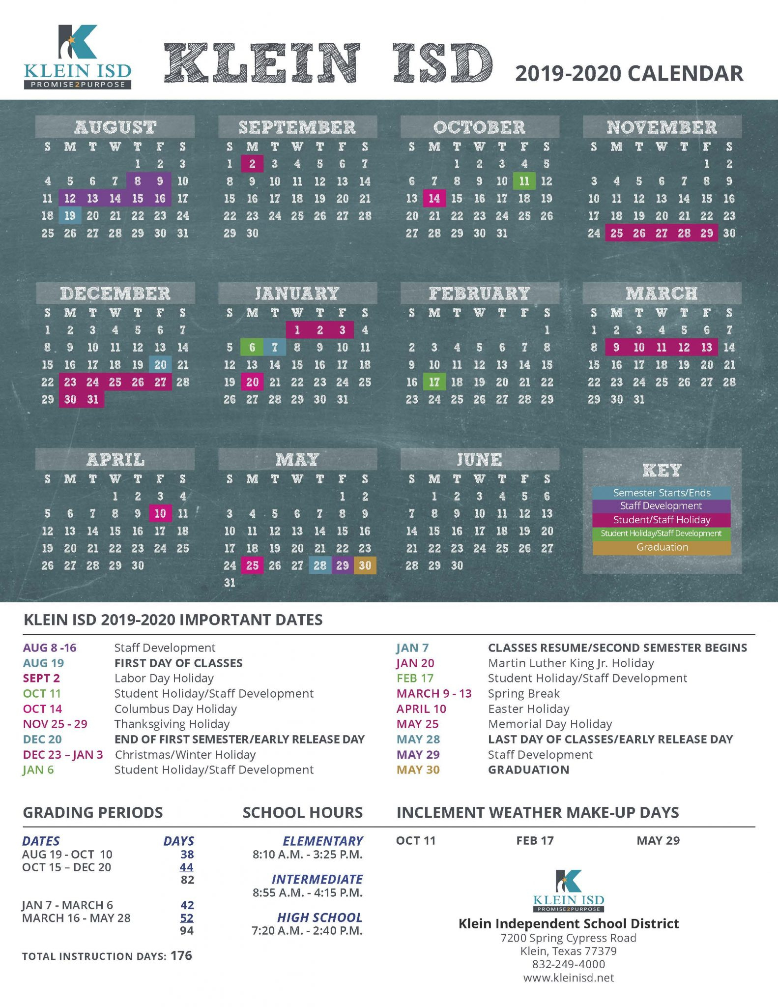 Klein Isd Announces Calendar For 2019 2020 School Year For New Caney School Calendar