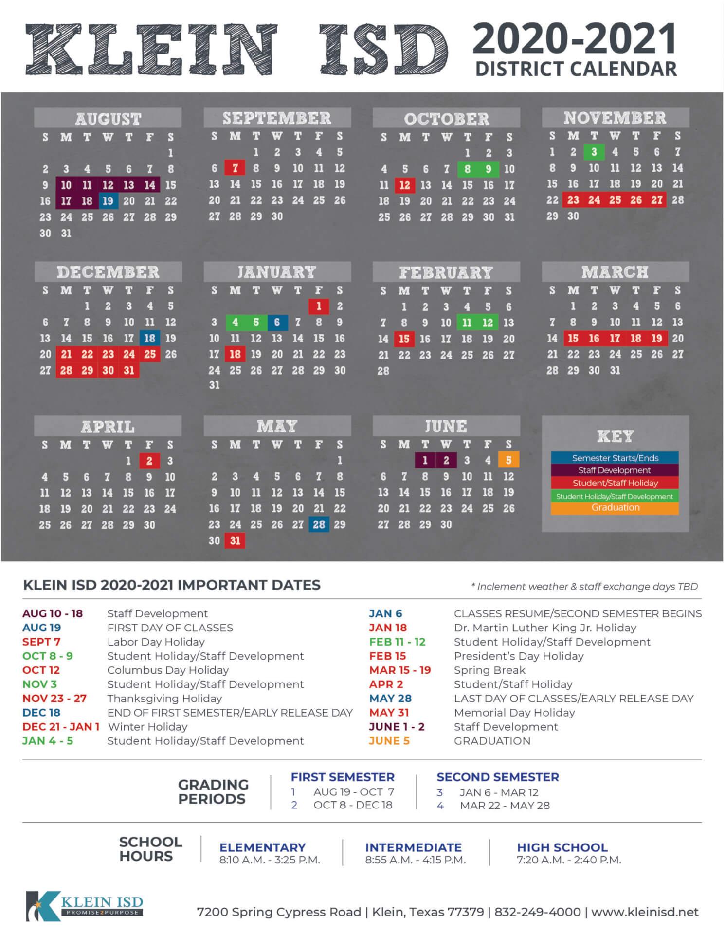 Klein Isd Announces Calendar For 2020 2021 School Year In New Caney School Calendar