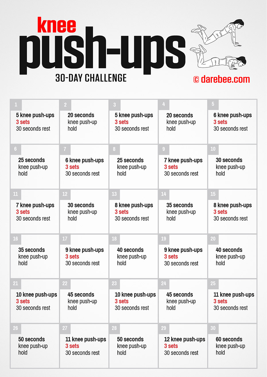 Knee Push Ups Challenge Regarding 30 Day Push Up Challenge Printable Pdf