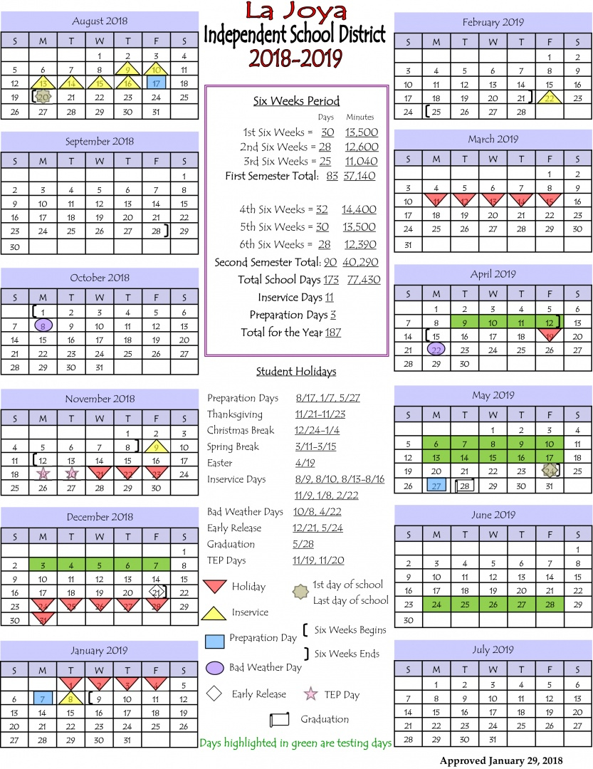 La Joya Isd - Ljisd Calendar 2018-2019 pertaining to La Joya Independent School District Calendar