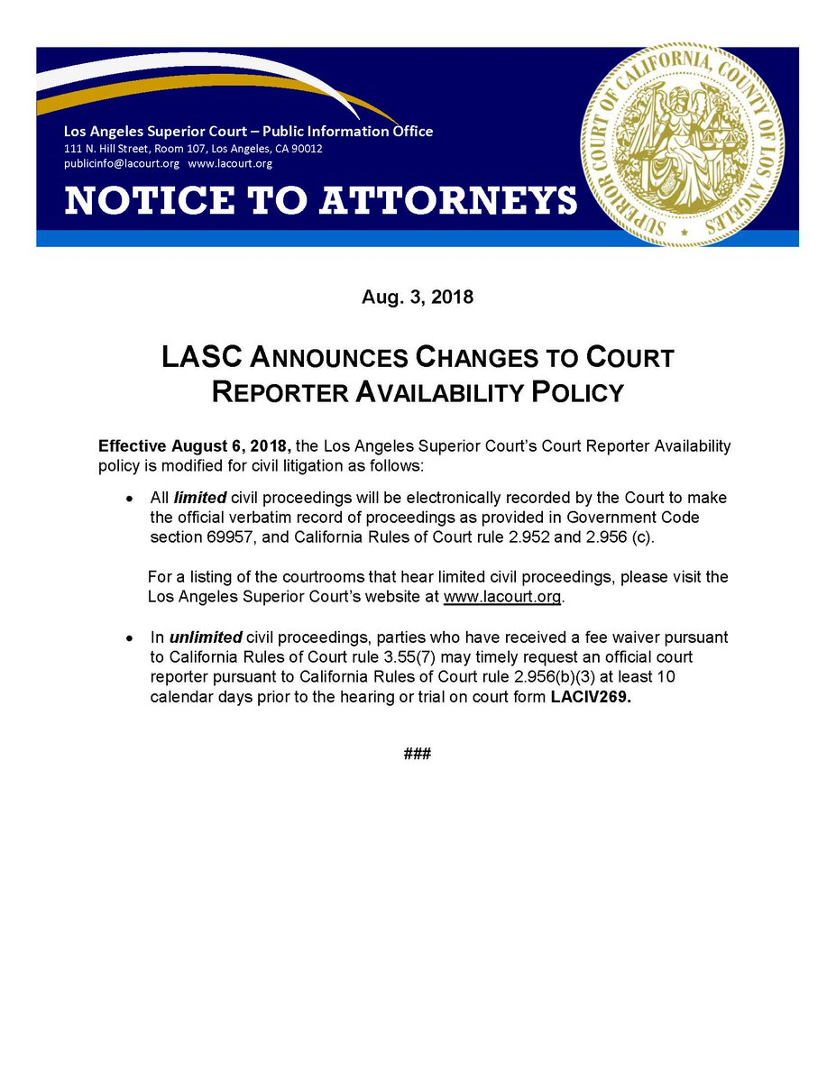 "La Superior Court On Twitter: ""#attorneys - Lasc Announces In Los Angeles Superior Court Calendar"