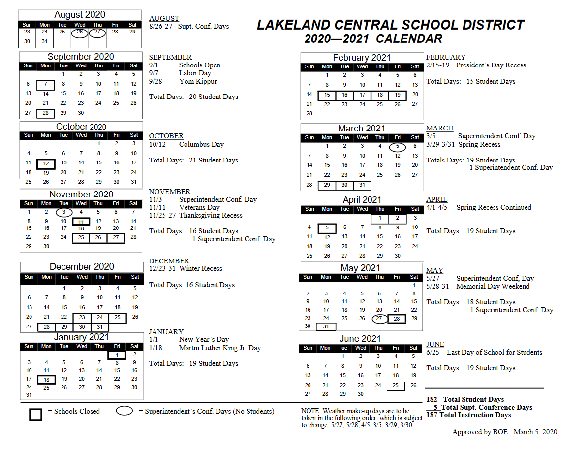 Lakeland Calendar – Tom Thumb Preschool In East Meadow High School Calandar 2012