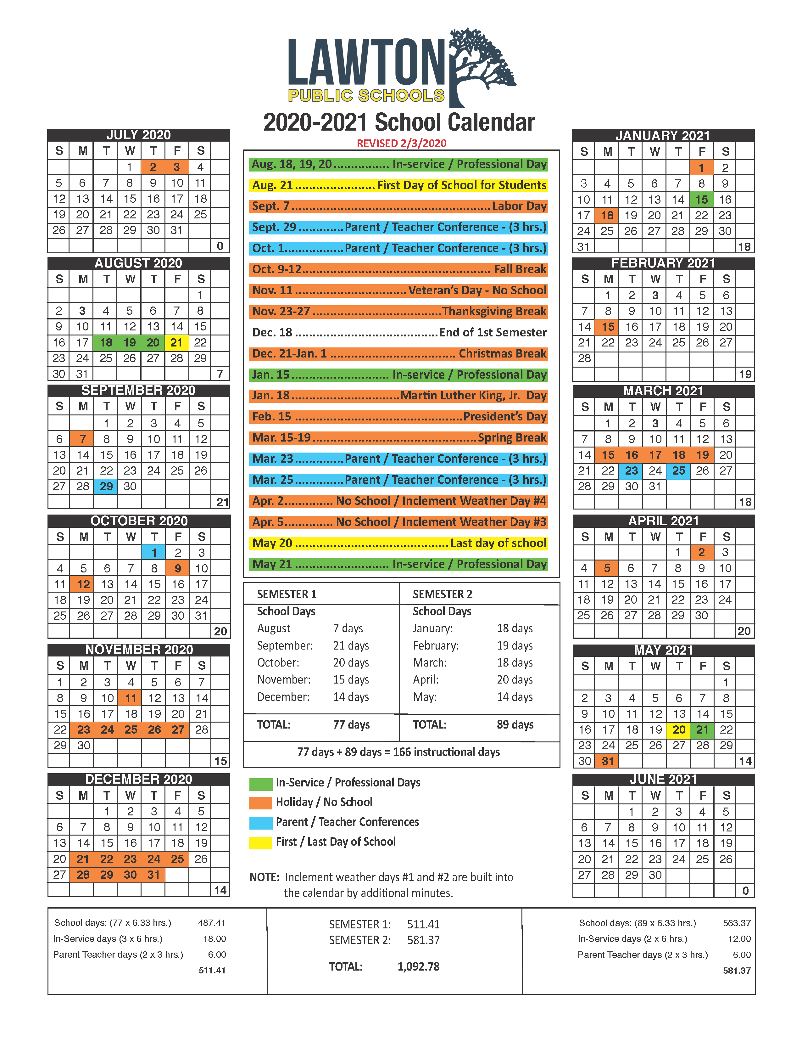 Lawton Public Schools Within Lincoln Unified School District Calendar 2021