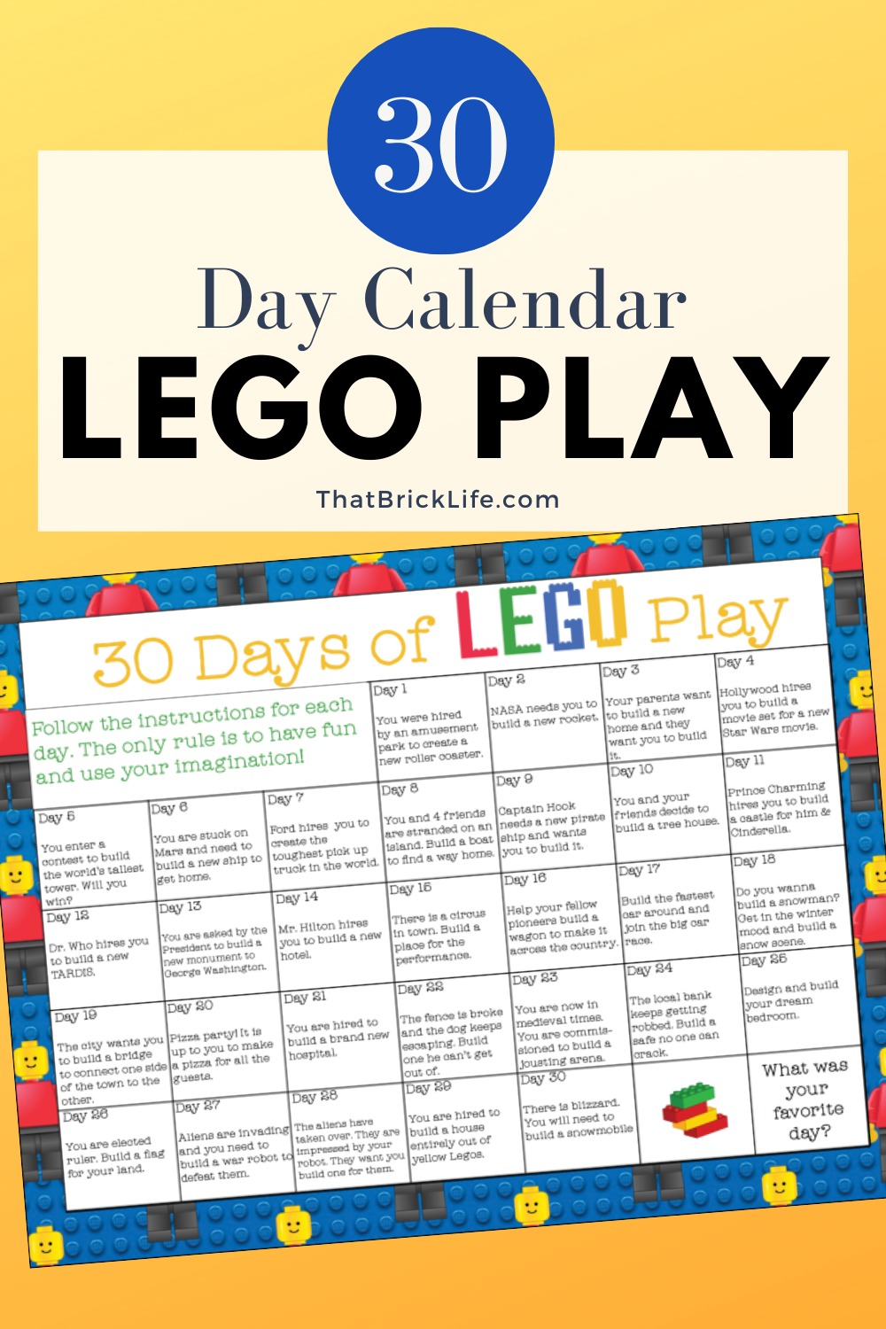 Lego Challenge: 30 Days Of Play Calendar – That Brick Life Throughout 30 Day Challenge Calendar