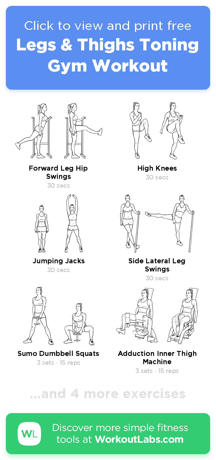 Legs & Thighs Toning Gym Workout – Click To View And Print Within Free Printable Program For Inner Thights