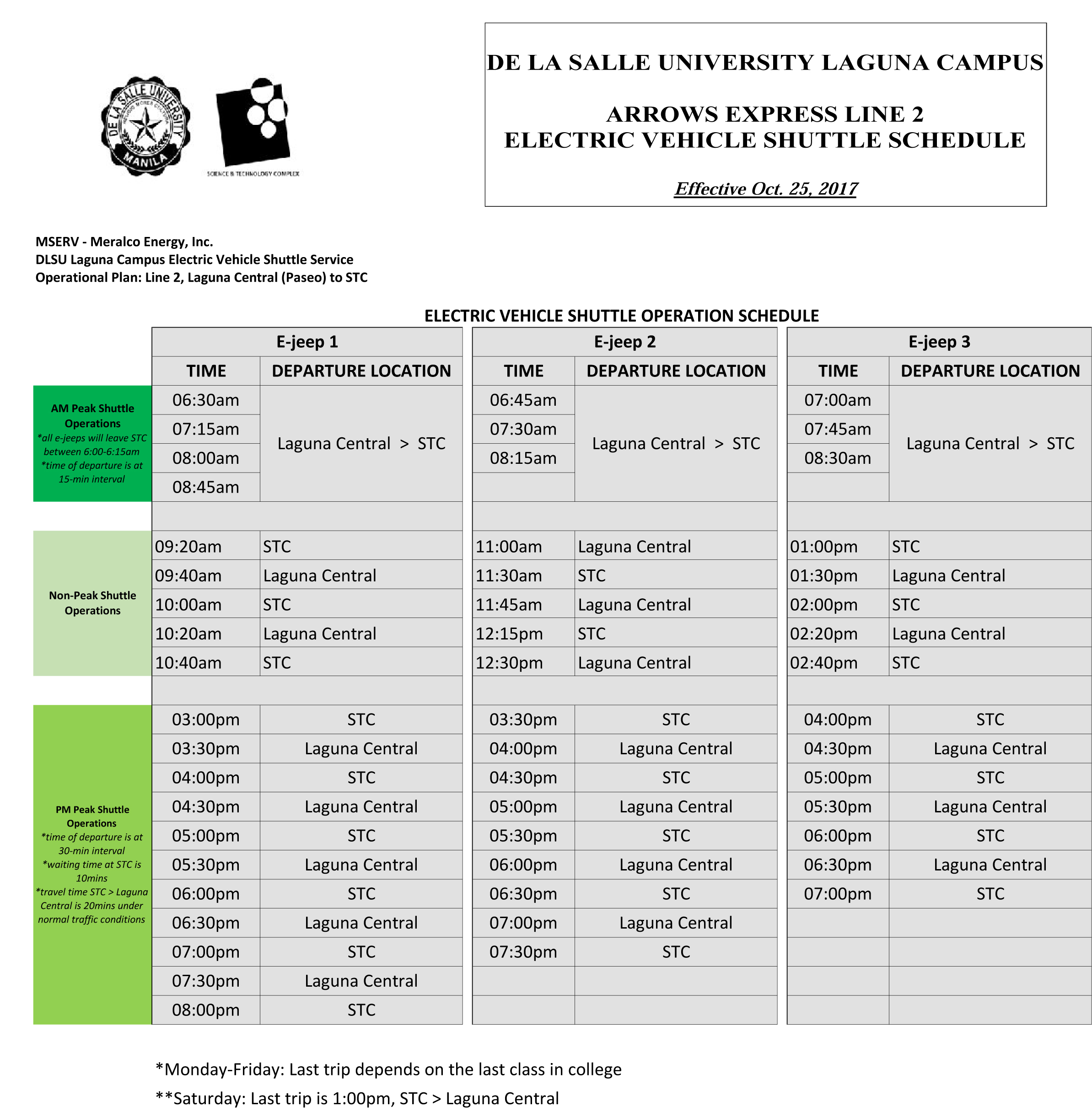 Line 2 Shuttle Schedule 2 – De La Salle University With La Salle University Academic Calendar