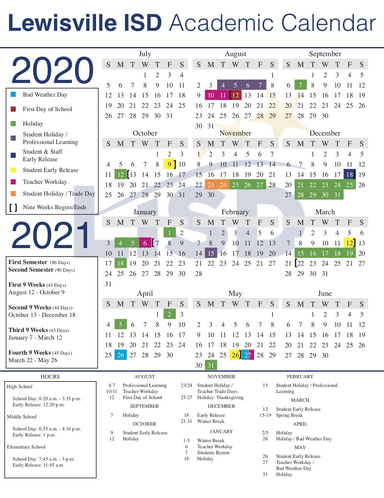 Lisd Approves 2020 21 Academic Calendar Inside West Hills High School Calendar