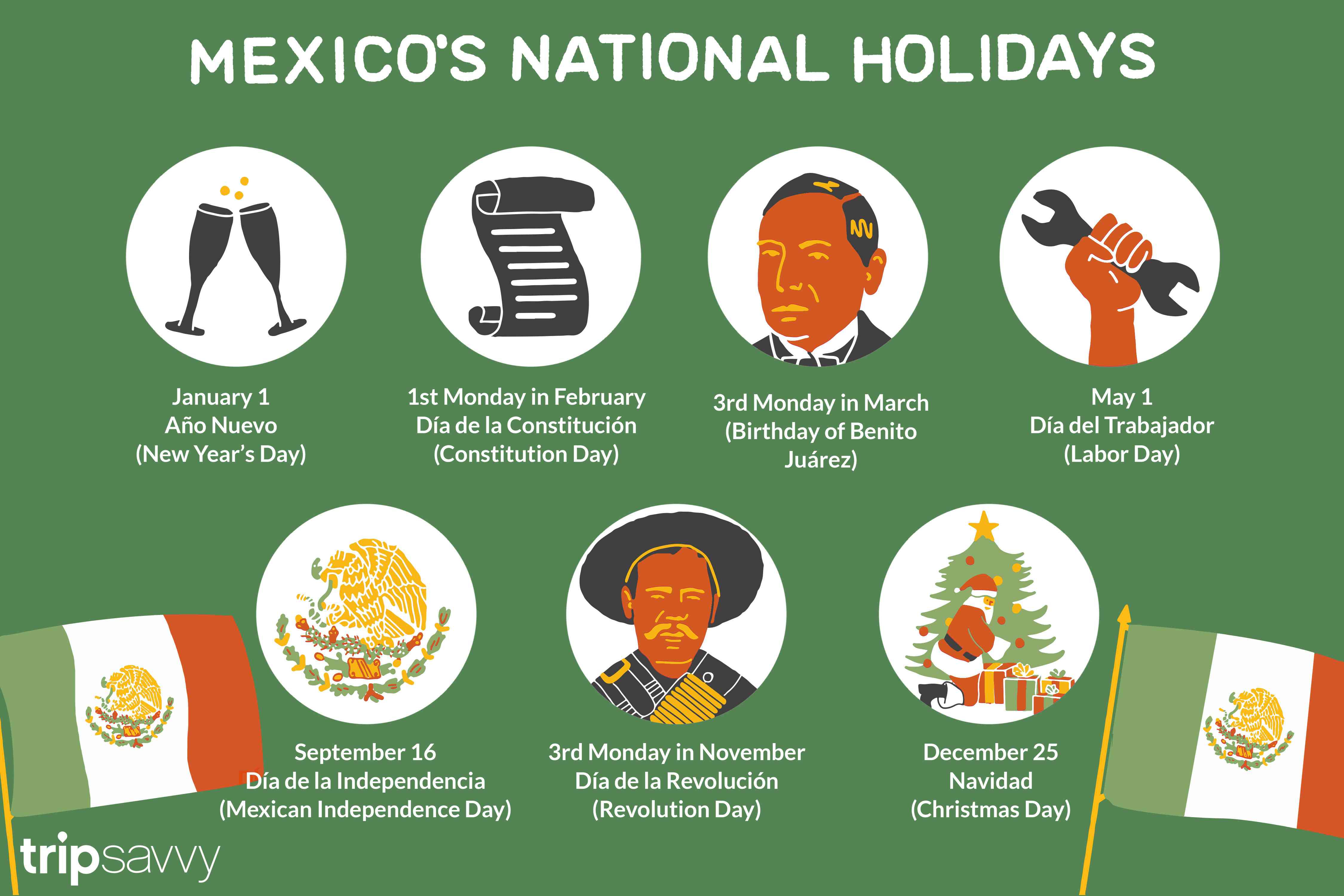 List Of Mexican National Public Holidays With Mexican Calendar Saints Names 2020