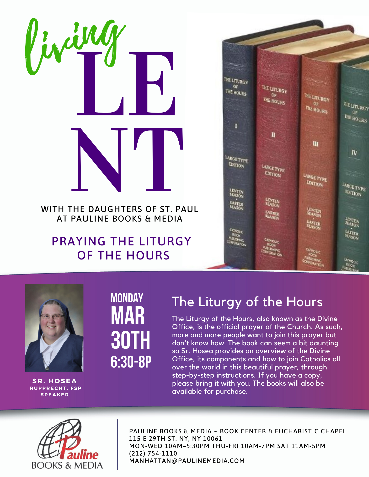 Living Lent Series At Pauline Books & Media: Praying The For Liturgy Of The Hours Calendar