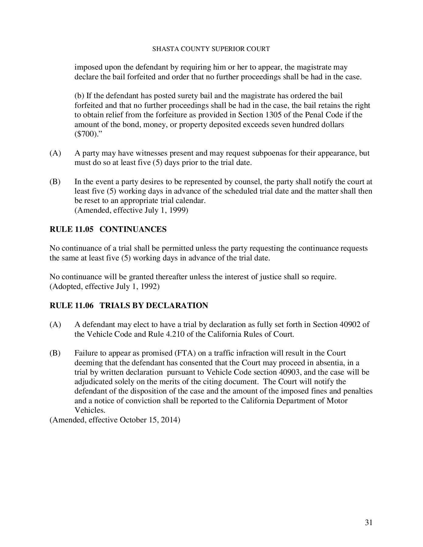 Local Rules - Superior Court Of California - County Of Within Shasta County Superior Court Calendar