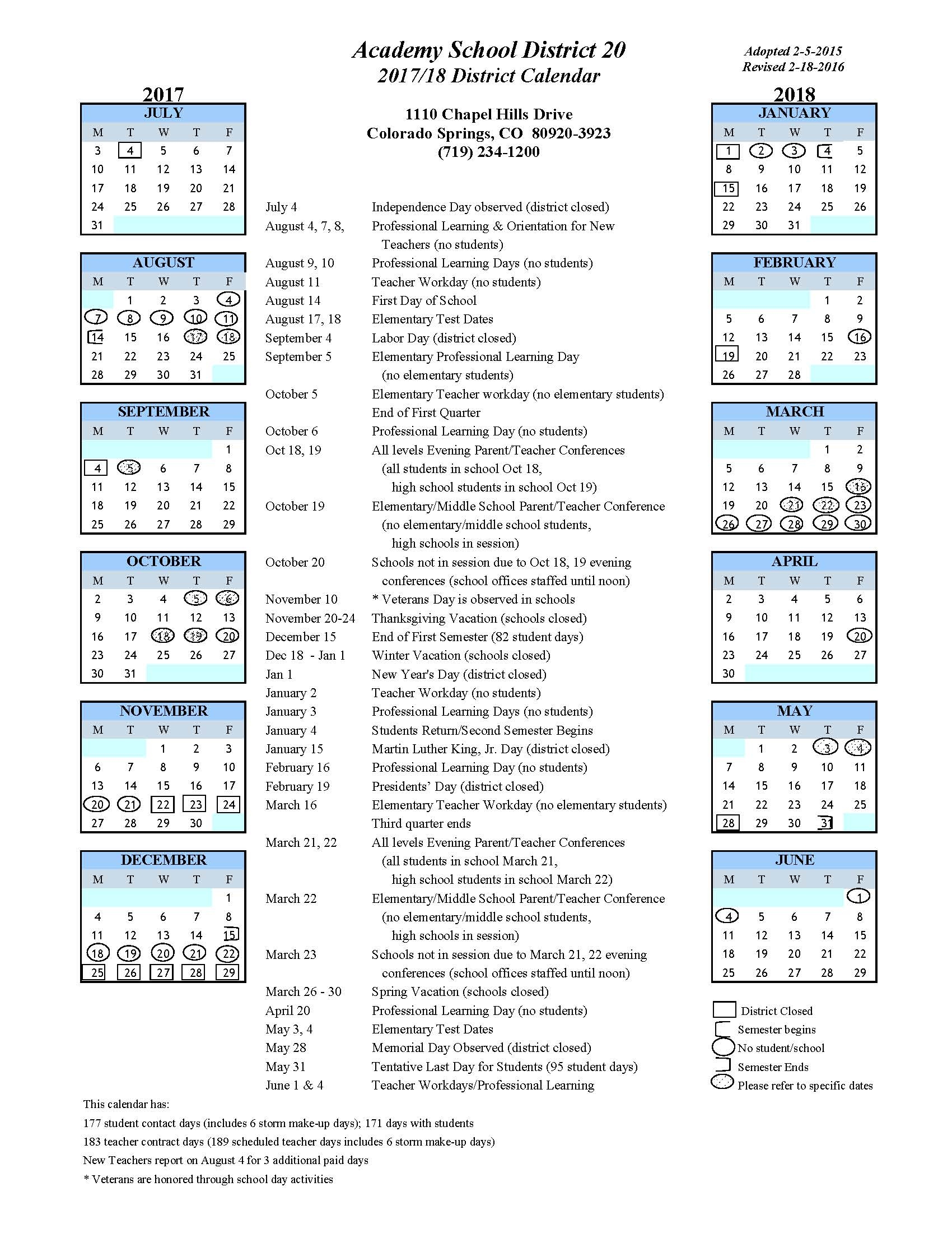 Look with District 20 Colorado Springs Calendar