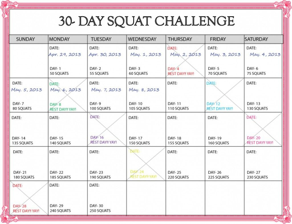 Lovely 30 Day Squat Challenge Printable Calendar (Dengan Gambar) For Workout Challenge Calendar 30 Day Excel Template