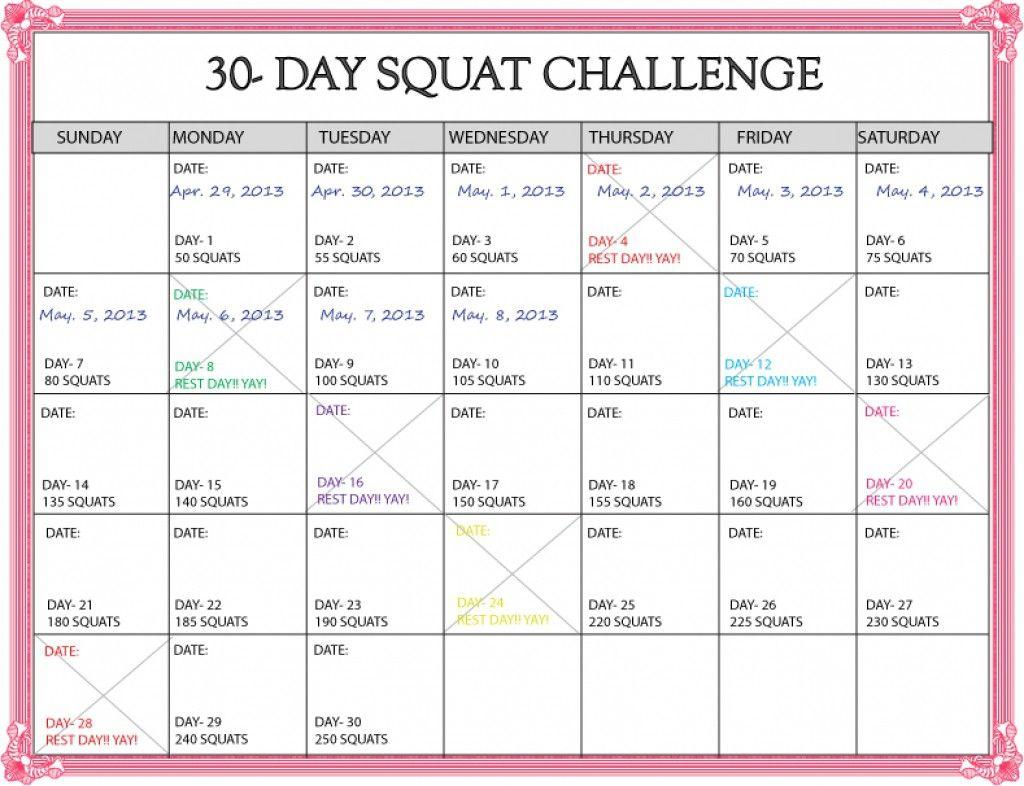 Lovely 30 Day Squat Challenge Printable Calendar (Dengan Gambar) Intended For 30 Day Squat Challenge Printable