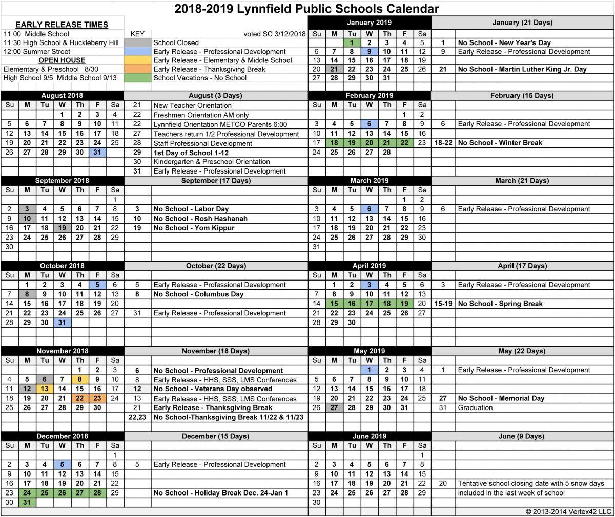 Lynnfield Public Schools Intended For Metro Nashville Public Schools Calendar 2021