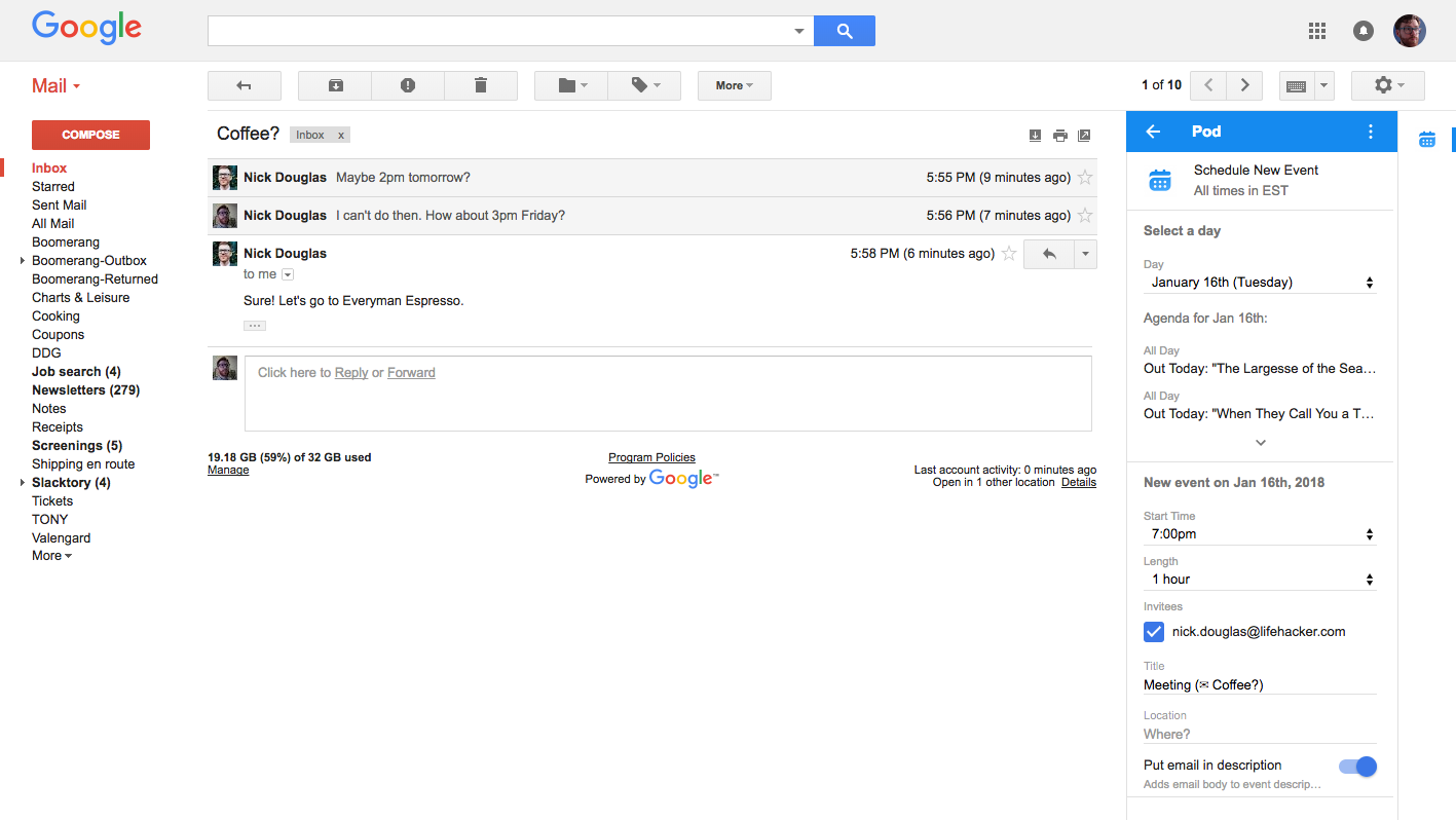 Make Calendar Events Inside Gmail With Pod | Lifehacker In Does Gmail Have A Calendar