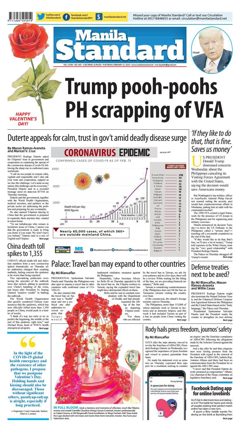 Manila Standard - 2020 February 14 - Fridaymanila In Wiliam & Mary 2021/2020 Calendar