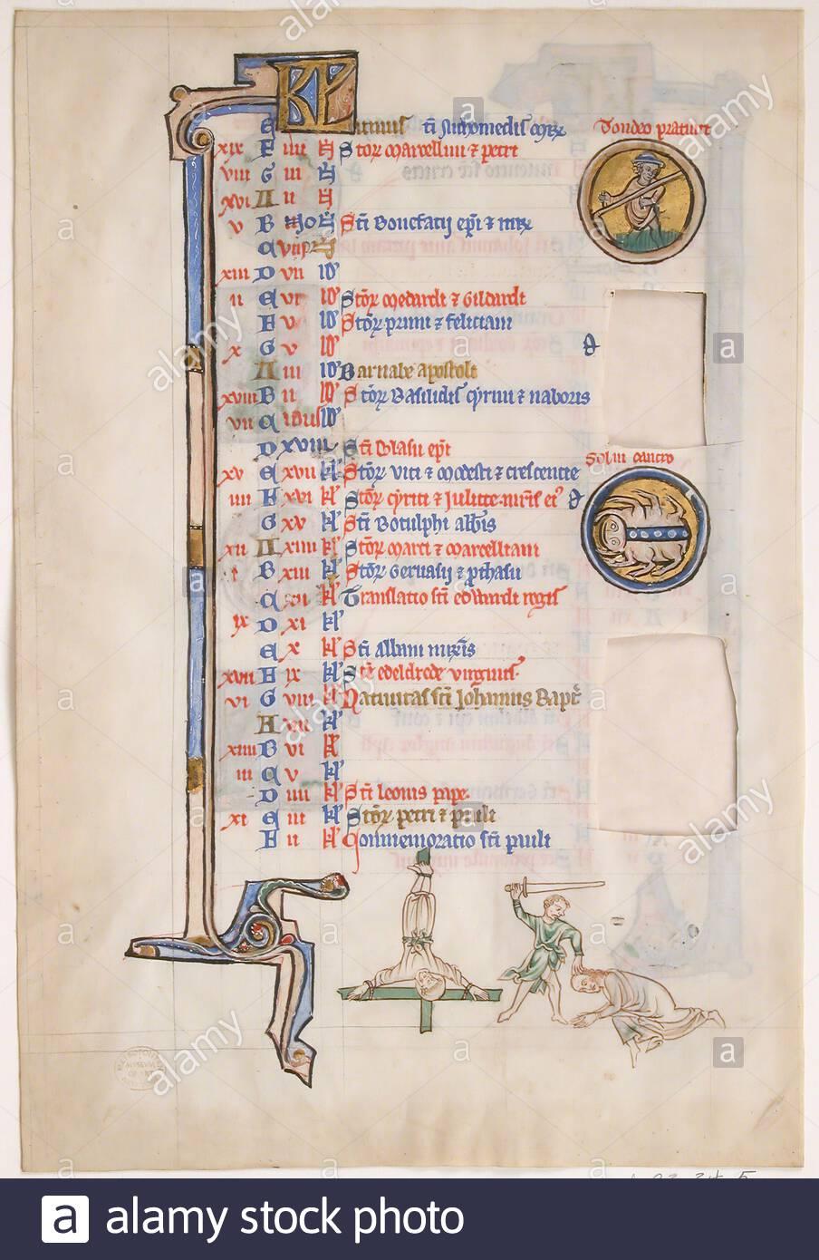 Manuscript Calendar Stock Photos & Manuscript Calendar Stock In Mexican Calendar With Saints