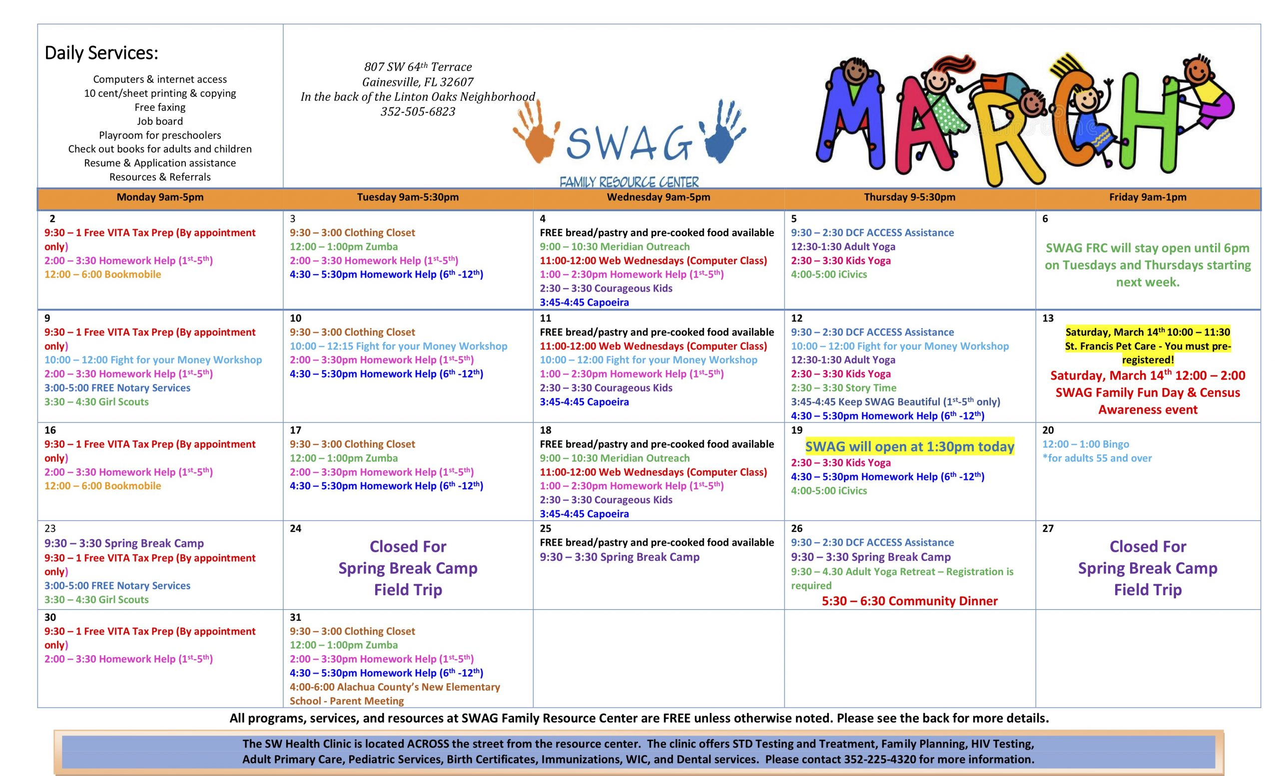 March 2020 Event Calendar - Swag Intended For Alachua School Board Calendar