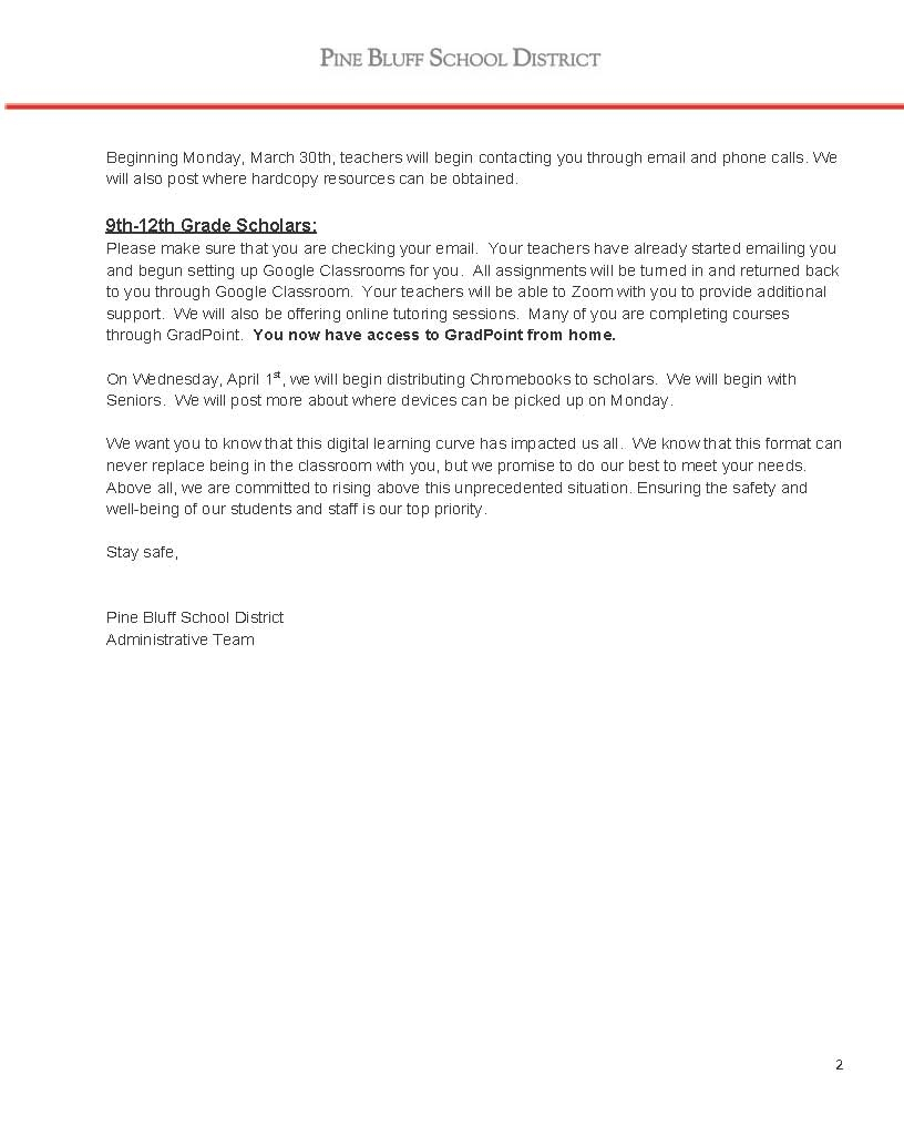 March Parent Letter – Pine Bluff School District Pertaining To When Is Spring Break 2020 In Pine Bluff