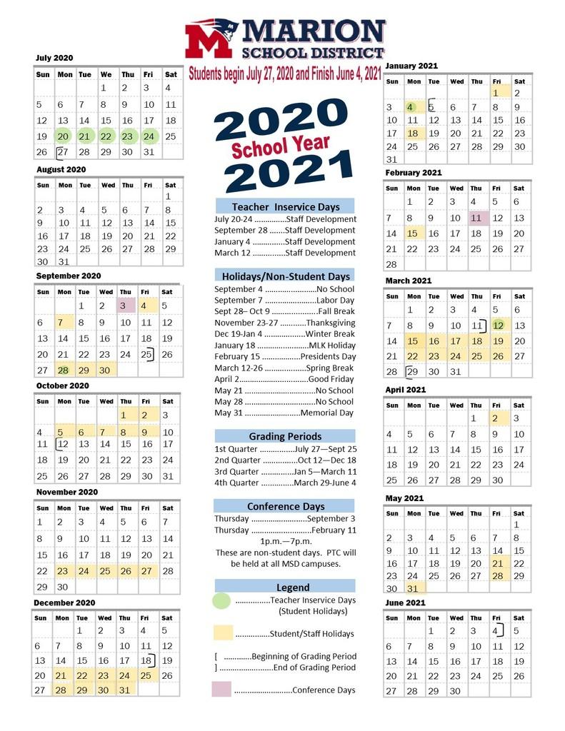Marion High School For School Calendar 2021 2020 Marion County Fl