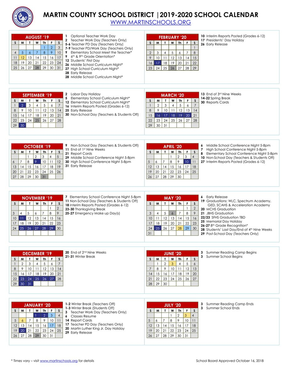 "Martin County School District On Twitter: ""📆looking Ahead Pertaining To 19 20 Martin County School Calender"