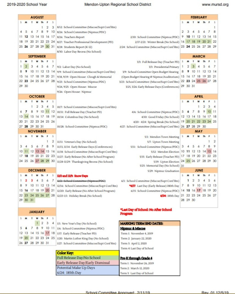 Mendon Upton Regional School District Throughout Johnson And Wales 2021 2020 Calendar