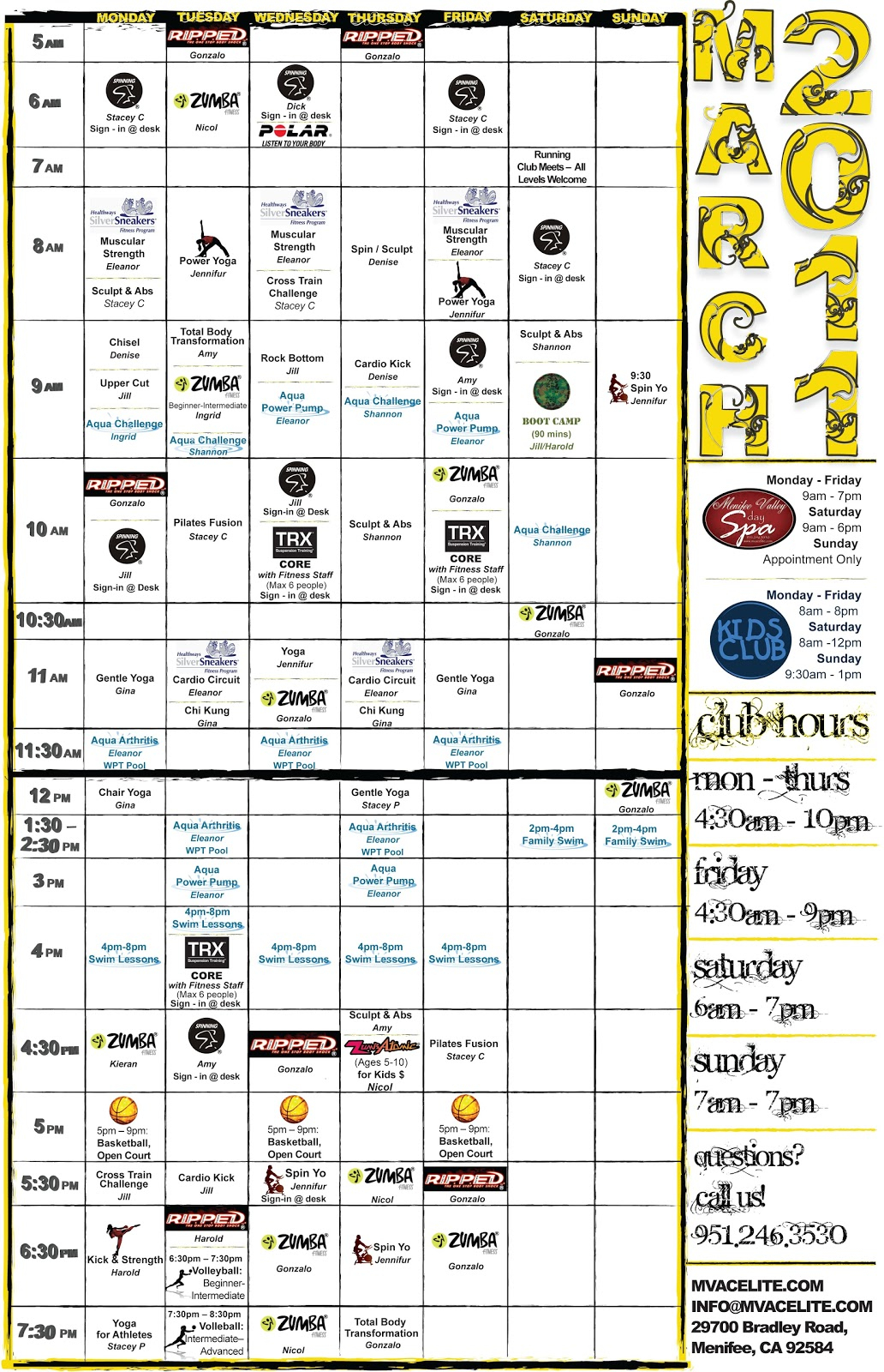 Menifee Valley Athletic Club Releases Its March 2011 Throughout Paloma High School Menifee Year School Calendar