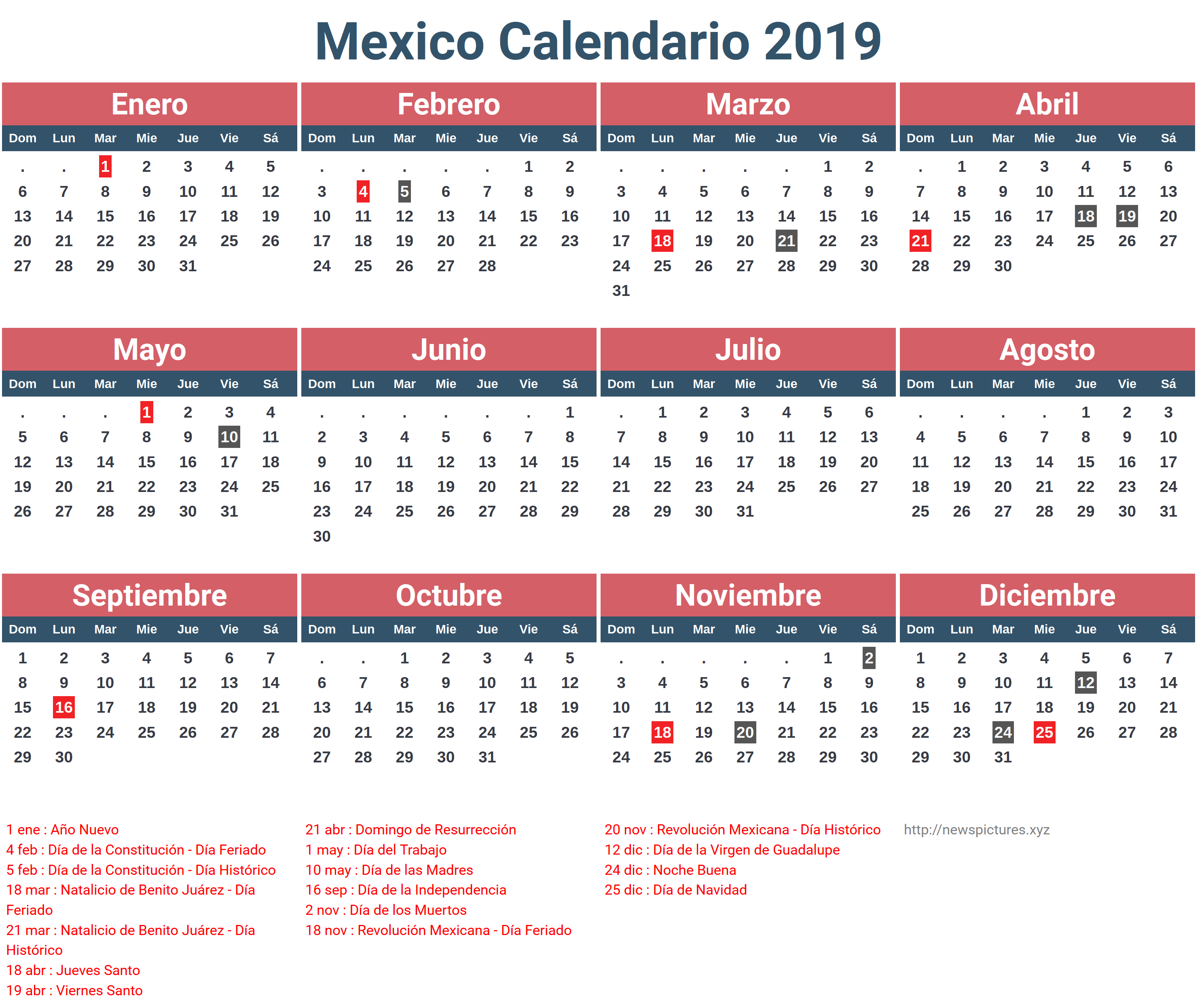 Mexican Calendar Names 2019 – Samyysandra Throughout Mexican Calendar With Names
