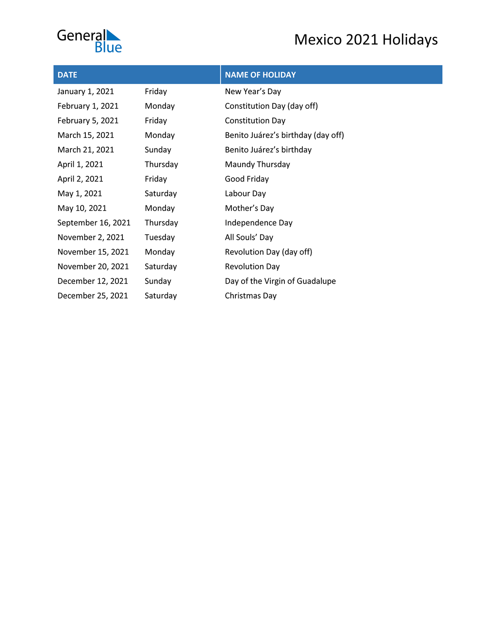 Mexico Holidays 2021 - Printable, Pdf, Word And Excel Regarding Calendar With November 2021 Mexican Names